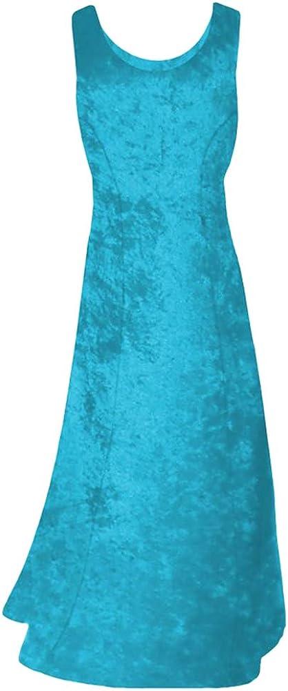 Turquoise Crush Velvet Princess Cut Plus Size Supersize Tank Maxi Dress