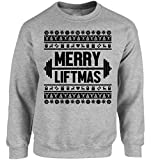 Vizor Merry Liftmas Christmas Sweatshirt for Men and Women Ugly Christmas Sweater For Lifting Workout Lifting Weights Xmas Grey M