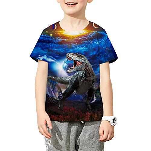 Funnycokid Boys Girls Funny Dinosaur T Shirt Kids Child Screwneck Short Sleeve Graphic Summer Tee ()