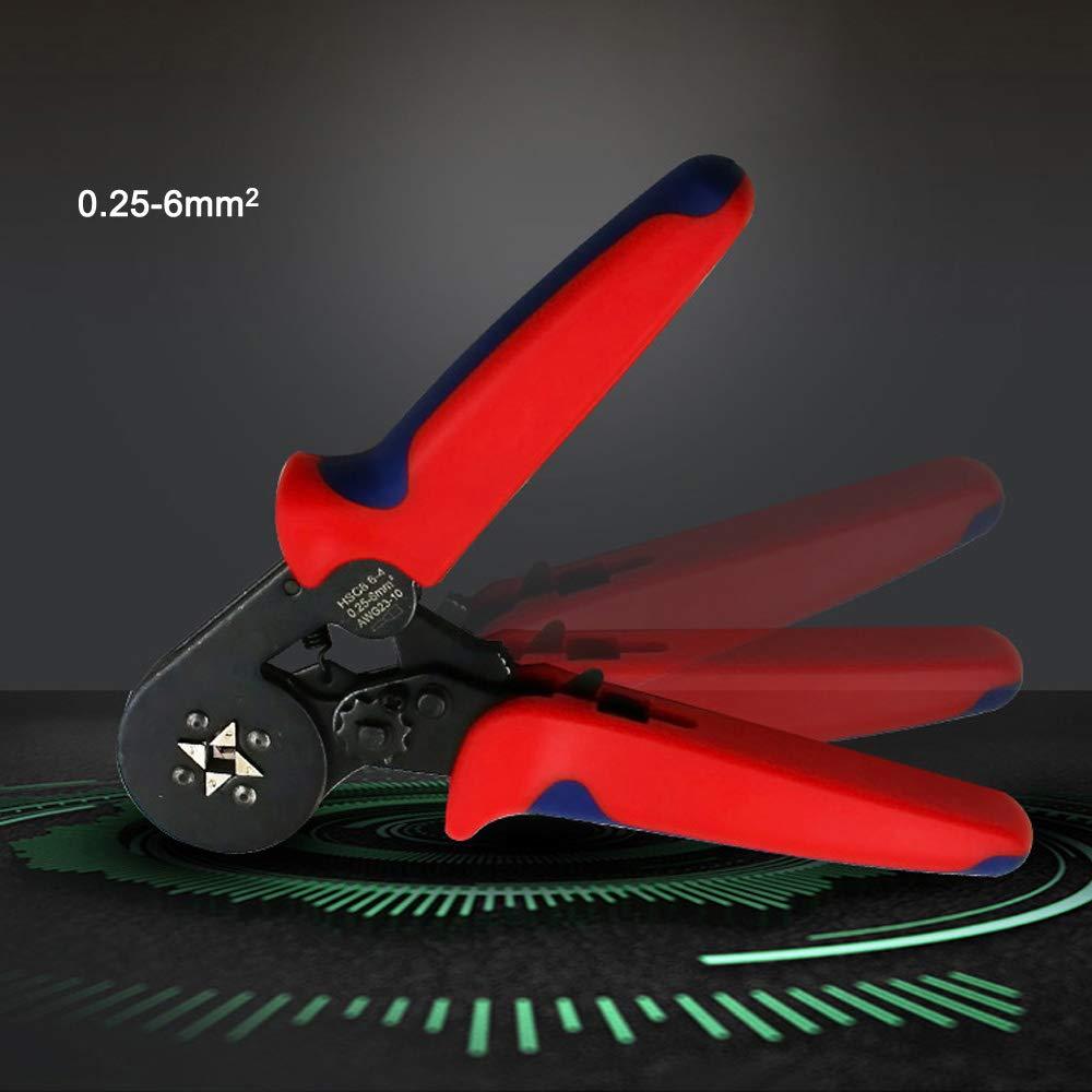 Hsc8 6-4 0.25-6mm/² Awg23-10 Autoajustable De Trinquete Virola Alicates Crimper Herramienta De Engarzado Bootlace Ferrule Wire End Cord Terminal Lug Rojo