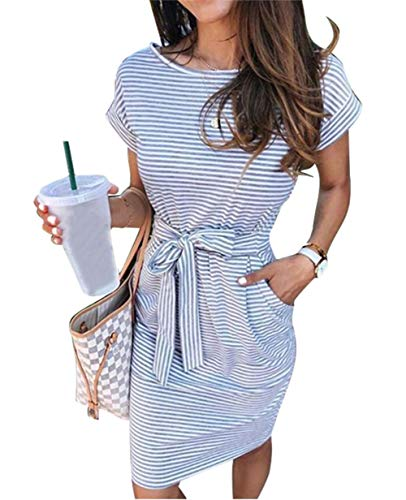 ECHOINE Women's Summer Striped Dresses, Short Sleeve T Shirt Dress Casual Tie Waist with Pockets