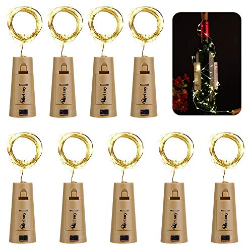 Merisny Wine Bottle Lights with Cork, 9 Packs 20 LED Starry Fairy LED Bottle Lights with Cork - Easy to Replace Battery - for Wedding Party Decoration Halloween Christmas]()
