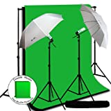 LimoStudio Photography Video Studio Umbrella Continuous Lighting Light Kit with Double Muslin Backdrop Black, Chromakey Green 10' x 10' and Background Support Kit, AGG724