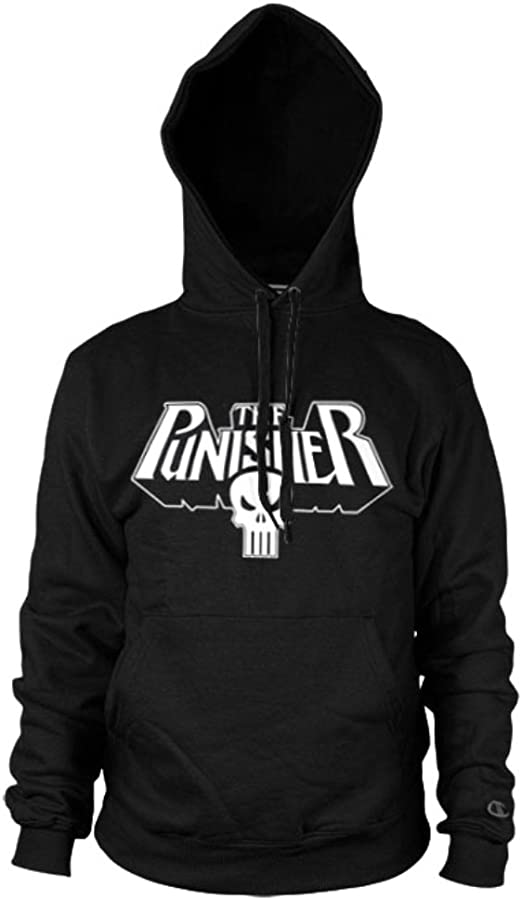 Official The Punisher Skull Logo Black Hoodie Hooded Sweater