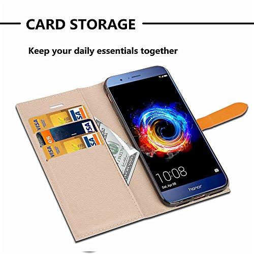 Funda Huawei Honor 8 Pro, Carcasa Huawei Honor V9, CaseLover Flip Folio Slim Cartera Piel PU Carcasa para Huawei Honor 8 Pro / Honor V9 Estilo Libro Cuero Tapa Cierre Magnético, Función de Soporte, Bi Beige