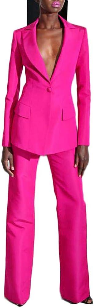 Women's Peak Lapel Hot Pink Business Suits 2 Pieces One Botton Wedding Groom Tuxedos