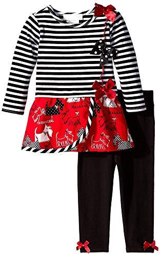 Baby Girls 3M-24M Stripe to Scottie Corduroy Print Dress/Legging Set (3-6 Months, Black/White)