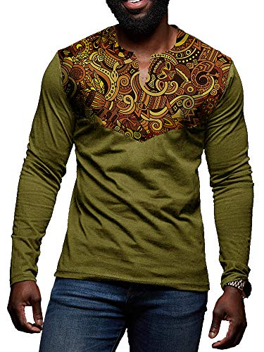 Mens African Print Dashiki Shirt Floral Tribal Casual Long Sleeve V Neck Slim Fit T Shirt Pullover Tees Tops Green
