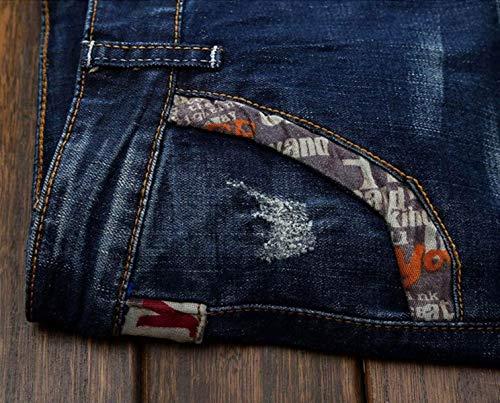 Pantaloni Da Senza Slim In Bassa A Uomo Micro Denim Jeans Blu Aderenti Vita Skinny Cinturino q10U0H