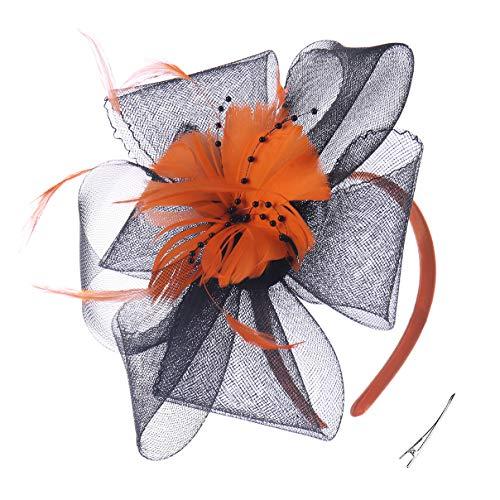 - Felizhouse Fascinator Hats Women Ladies Feather Cocktail Party Hats Bridal Headpieces Kentucky Derby Ascot Fascinator Headband (#4 Black Orange)