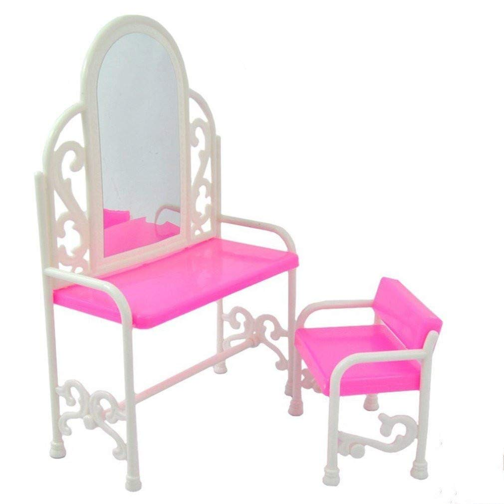 1 Set Pink Plastic Dressing Table And Chair Toy Doll Makeup Accessories Dollhouse Miniature Furniture by SamGreatWorld