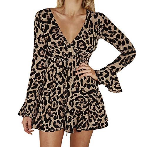 Kanhan Womens Sexy Fashion Flare Sleeve Bow Bandage V-Neck Sexy Leopard Print Mini A-Line Dress (XL, Khaki)