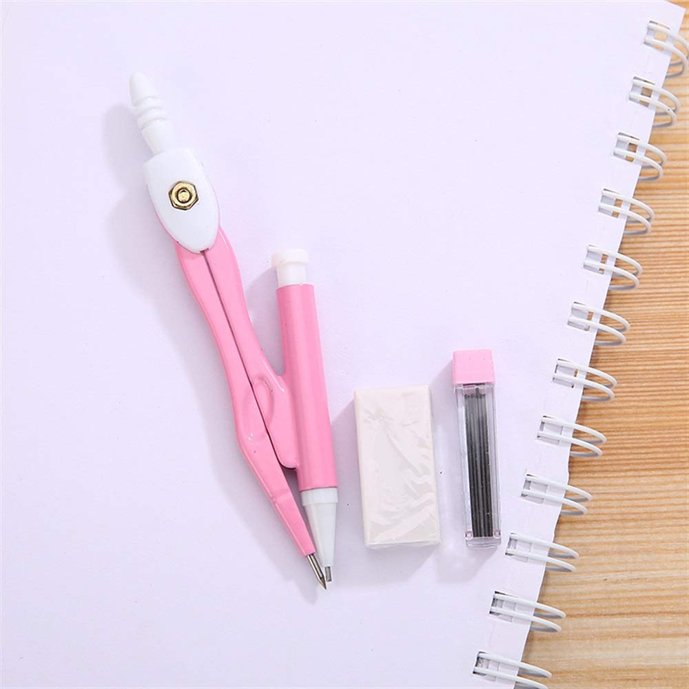 MKILJNH Efficace Lovely Pink Geometry Drawing Set Bussola in metallo con ricarica e gomma