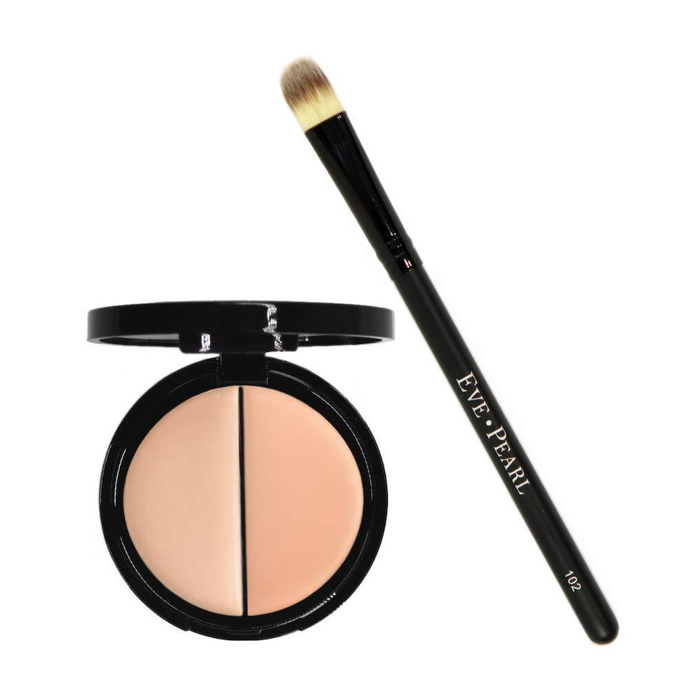 EVE PEARL Dual Salmon Concealer And 102 Concealer Brush Full Coverage Under Brighten Eye Concealer Brush Set Makeup Kit Light