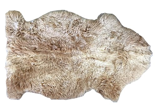 Schaffell Teppich MILCHKAFFEE Naturbunt ungefärbt naturbelassen hellbraun ocker Dekofell Lammfell Länge 70 / 80 cm