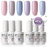 #3: Gellen New Soak Off Gel Nail Polish Pale Cream Colors Set - Fashion Selected 6 Colors 8ml Home Gel Manicure Kit