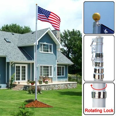 Sturdy 20' Aluminum Telescopic Pole w/ Golden Sphere Finial & 3x5 Feet US American Flag Kit for Fly Up To 2 Flags Spinning Brackets Flagpole Hardware Ground Décor