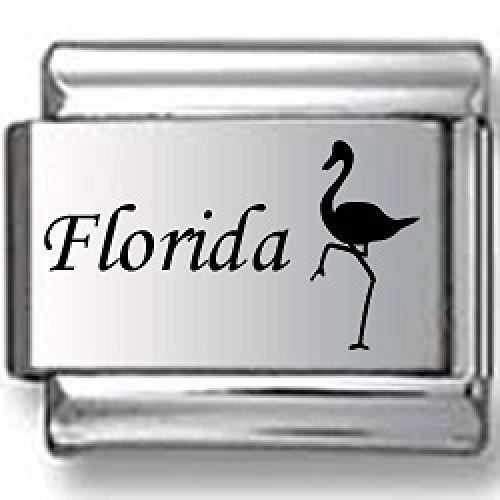 Florida Flamingo Laser Italian Charm - Florida Italian Charm