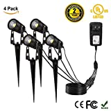 4 Pack LED Spotlights Outdoor, ProGreen 12V 1080LM Waterproof COB Led Landscape Lighting with UL Listed Adapter, 3000k Warm White Decorative Lamp Wall Light for Lawn,Garden, Along Driveway or Pathways