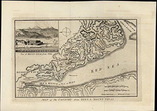 Suez Mount Sinai Egypt Red Sea Deserts Landscape View Vignette 1817 antique map