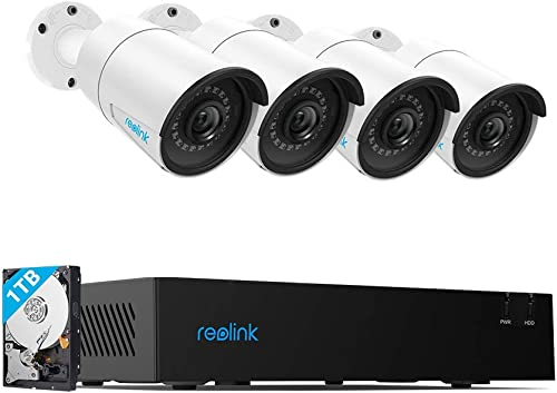 Reolink 4CH 4MP PoE-Security-Camera-System, 4pcs Wired 4MP Outdoor PoE IP Cameras, 4-Channel NVR with 1TB HDD for Home and Business 24 7 Recording