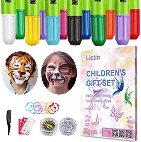 Lictin Pintura de Cara para Niños-Pintura Facial de 8 Colores, 6 Tintes para Cabello, 2 Purpurinas, 1 Pegatinas de Tatuaje, 2 Plantillas, 3 Tocado de ...