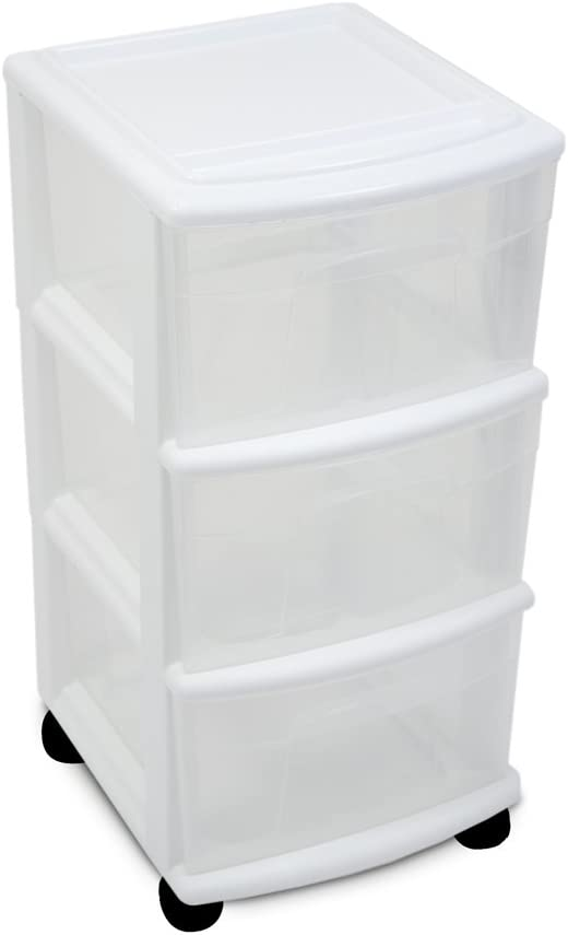 HOMZ Home Products International 3-Drawer Cart, Medium, White