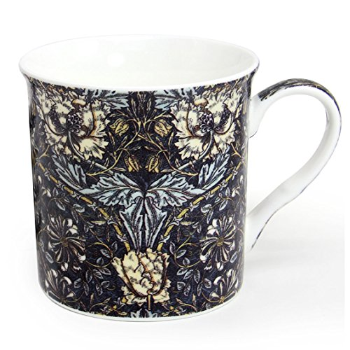 12 oz Flower Pattern Ceramic Coffee Mug, Momugs Pretty Tree Leaf Tea Porcelain Cup for Girl as A Gift, Black