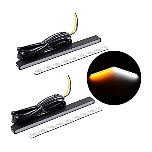 Switchback Slim White Amber 2835 SMD LED Turn Signal DRL Daytime Running Light Bar