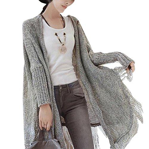 Krralinlin Womens Batwing Knitted Tassels Shawl Cardigan Sweater(Black,grey)