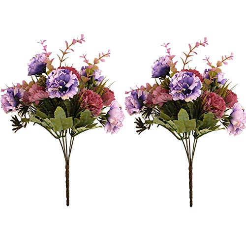 BECOR Fake Flowers Bouquet Artificial Silk Carnation Plant with Leaves for Wedding Home Party Table Decor, 10 Flowers 5 Stems Per Bunch, 2 Bunch Per Pack, Purple & Coffee (Bouquet 2 Spring)