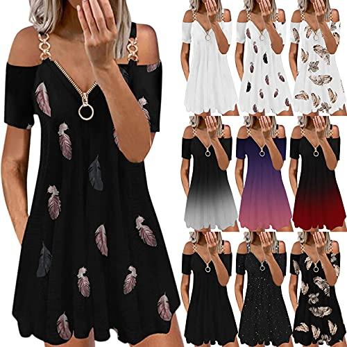 Balakie Women Summer Off The Shoulder Mini Dress Zipper V Neck Rhinestone Strap Short Sleeve Casual T-Shirt Swing Dress