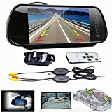 Dacawin 5 inch LCD Mirror Monitor +Wireless Car Reverse Rear View Backup Camera Night Vision (Black)