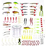 VANG 101pcs Fishing Bass Lures Kit including Baits Crankbaits Spoons Plastic Worms Jigs Topwater Lures Tackle Box Gear Set with 500M Line