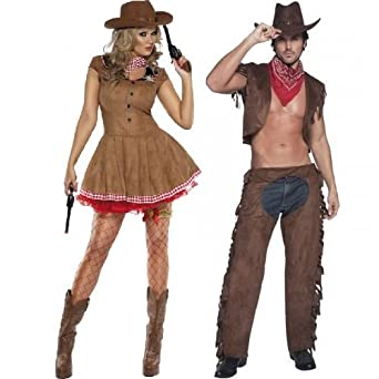 fcf2c889caa5 Ladies   Mens Fever Cowboy   Cowgirl Wild West Western Sheriff Couples  Fancy Dress Party Costumes