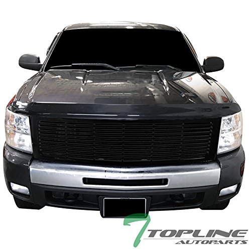 Topline Autopart Glossy Black Horizontal Front Hood Bumper Grill Grille ABS For 07-13 Chevy Silverado 1500