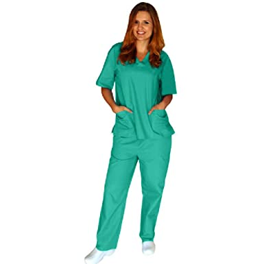 f9d4e43372c Amazon.com: Medical Nursing Men Women Unisex Scrub Set Top Pants Hospital  Clinic Uniform: Clothing