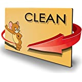 Double Sided Dishwasher Magnet - Clean Dirty Reversible Flexible Flip 3x4 inch Flipside Tom and Jerry Yellow Color Base Cartoon Cute Design Perfect Kitchen Addition Premium Flip Sign Indicator
