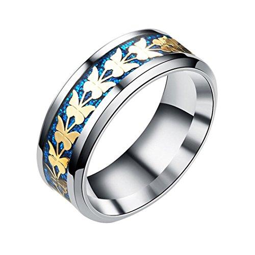 Balakie Women Men Fashion Ring Bohemian Vintage Silver Wide Butterfly Ring Jewelry Alloy (Blue, (Ten Stone Ring)