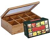JointFeat Natural Bamboo Tea Box and Ahmad Tea Twelve Teas (60-Count Package) set