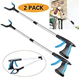 2 Packs - 32'' Foldable Grabber Reacher, Rotating Gripper Mobility Aid Reaching Assist Tool Trash Picker, Litter Picker, Garden Nabber, Arm Extension, Pick Up Grabber Reaching Tool (Blue+Blue)