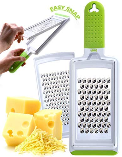 Fine & Coarse Stainless Steel Handheld Grater - Dishwasher Safe Zester & Cheese Graters for Kitchen ()