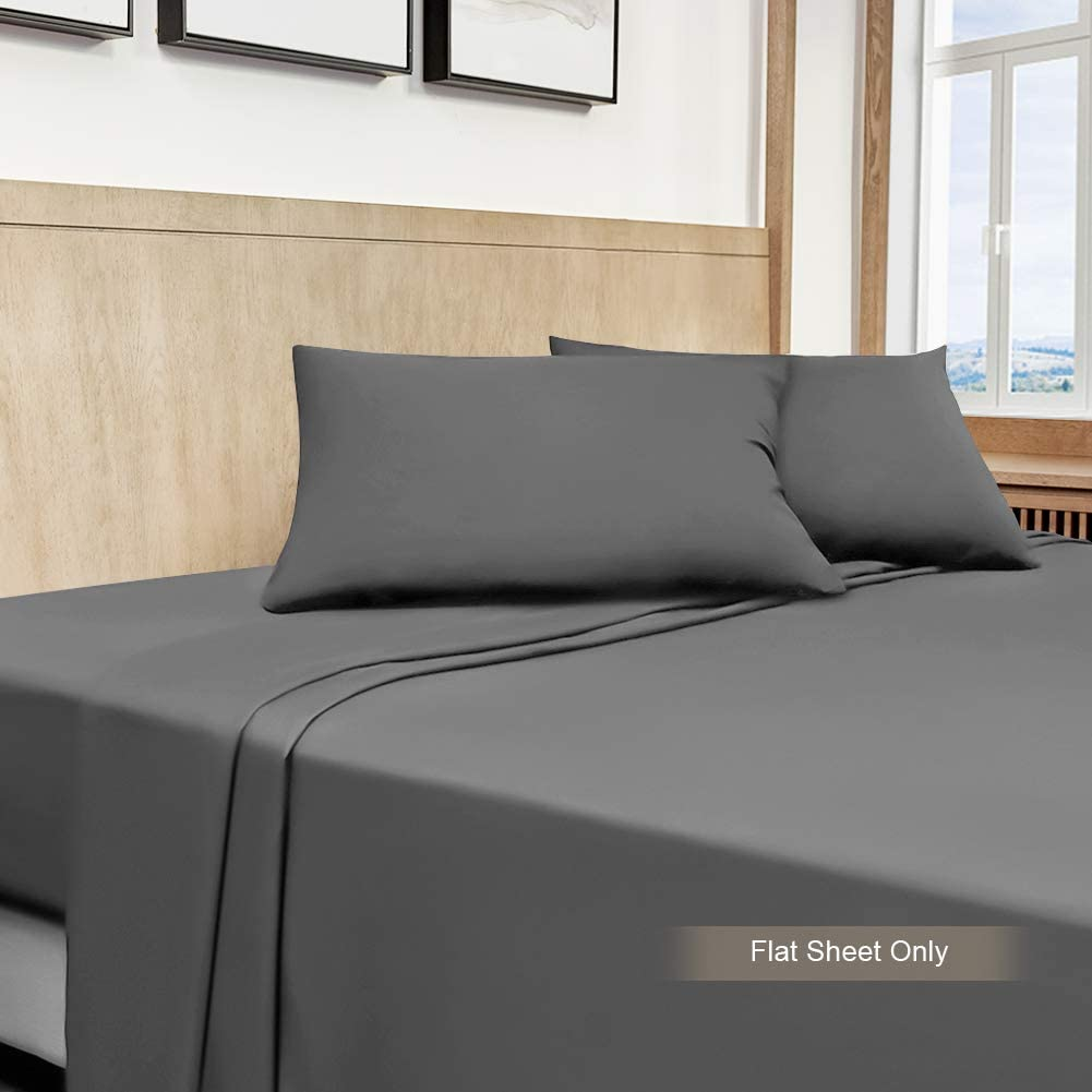 Cok Twin Flat Sheet Gray Ultra Soft Polyester Microfiber Bed Sheet 1 Pack Twin Size Bedding Flat Sheet Only Hypoallergenic and Comfortable Top Sheet Extra Breathable /& Cooling Sheet