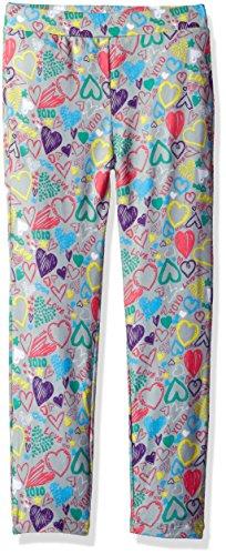 Dream Star Girls' Grafitti-Heart Printed Super Soft Capri Leggings