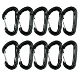 Fusion Climb Contigua Military Tactical Edition Wire Gate CE UIAA Certified Carabiner Black 10-Pack