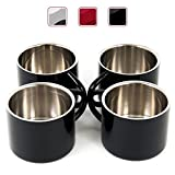 Black Stainless Steel Double Wall Espresso Cups, Set of 4, 2 oz