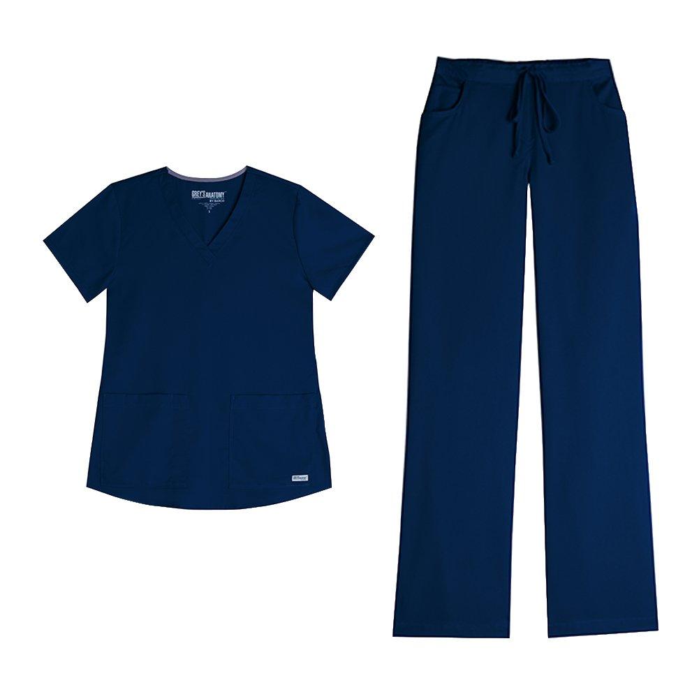 Grey's Anatomy Womens 71166 3 POCKET V-NECK TOP & 4232 Drawstring Cargo Comfort Pant Medical Uniform Scrub Set Top & Pants + FREE GIFT (Indigo - Medium)