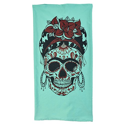 Maskies by Santa Playa, Breathable Face Masks for Biking, Hiking :: Skull Frida (Turquoise) (Adult Twoface Costume)