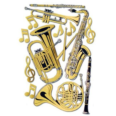 Gold Foil Musical Instrument Cutouts (Musical Note Ornament)