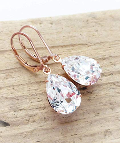 Swarovski Teardrop Earrings, Clear Crystal Rhinestone Pear Earrings, 14K Rose Gold Filled Leverbacks